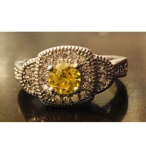 New Yellow Citrine & CZ Silver Ring size 6